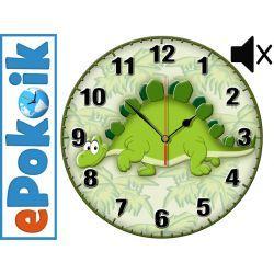 DINO drewniany zegar ścienny dla dzieci MECHANIZM BEZGŁOŚNY
