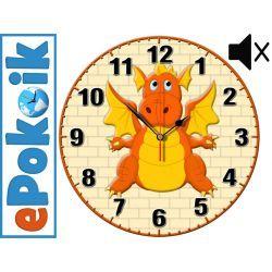 SMOK drewniany zegar ścienny dla dzieci MECHANIZM PŁYNĄCY