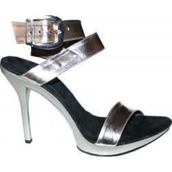 Buty srebrne ,ze skóry. Wysokość obcasa 9 cm