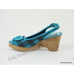 Sandały damskie Dijean 715 717 Turquoise Plaid