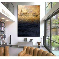 """obrazy nowoczesne """"granatowa toń ze złotem"""" ręcznie malowane w technice strukturalnej  duży 100x150cm Wyposażenie"""