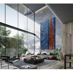 Duża abstrakcja do salonu - styl industrial chic Antyki i Sztuka