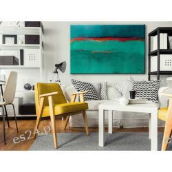 Obraz ręcznie malowany na płótnie galeryjnym SZMARAGDOWY ZACHÓD 70x100cm Akryl