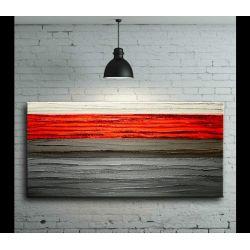 Na ścianę do salonu z czerwonym pasem 60x120 Akryl