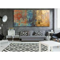 Duże obrazy do salonu z metalicznym wykończeniem Akryl