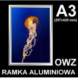 Rama zatrzaskowa aluminiowa OWZ A3 25mm + FoliaUV Biuro i Reklama