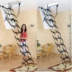 schody nożycowe (m) 120x60cm płyta HDF biała ocieplana H=290cm