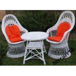 Fotele i stół meble ogrodowe białe+ GRATIS PODUCHY