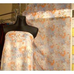 SZYFON KRESZOWANY - kwiaty pomarańczowe i niebieskie na białym tle