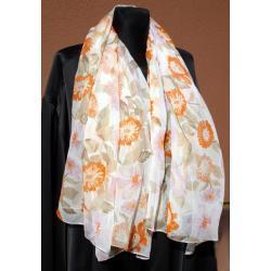 SZAL-CHUSTA JEDWABNA - żorżeta w różowo-pomarańczowe kwiaty