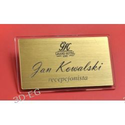 Eleganckie identyfikatory srebro, złoto drapane FU Biuro i Reklama