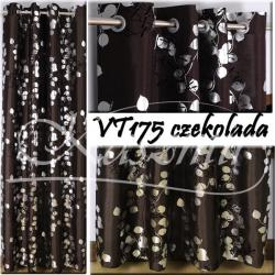 Gotowa zasłona na przelotkach Srebrne listki 250x150 ciemno brązowe, gorzka czekolada...
