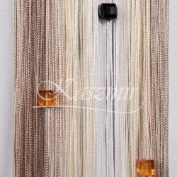 Firany sznurki, frędzle cieniowane z koralikami odcienie beżu i ecri 250x145 + woreczek...