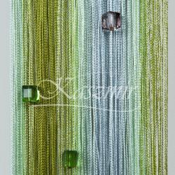 Firany sznurki, frędzle  z koralikami odcienie zieleni 250x145 + woreczek...