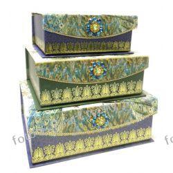 Zestaw 3 szkatułek PAW pudełko pojemnik szkatułka Akcesoria