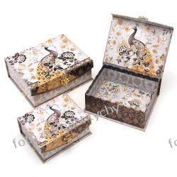 PAW ZŁOTY zestaw 3 szkatułek ozdobnych pudełko Akcesoria
