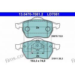 13.0470-7081.2 ATE KLOCKI HAMULCOWE CERAMICZNE VW GOLF IV 1,8T-2,8 V6 97-  PRZÓD  3A0698151  8N0698151  GDB1275