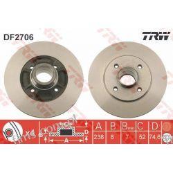 DF2706 TRW TARCZA HAMULC. RENAULT CLIO MEGANE  TYŁ 7700780078