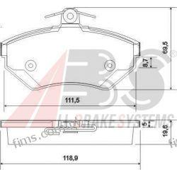 37010 A.B.S. KLOCKI HAMULCOWE  VW PASSAT AUDI A4  8E0698151A   GDB1266  13.0460-2822