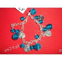 Bransoletka - niebieskie krople i spirale
