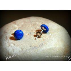 Kolczyki okrągłe lapis lazuli - sztyfty