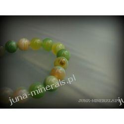 Oliwkowo zielone kulki agatowe - bransoletka