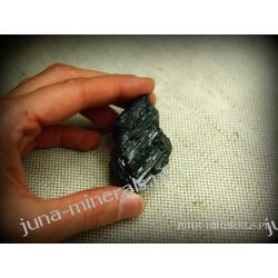Surowy kryształ czarnego turmalinu Skamieliny, minerały i muszle