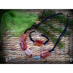 Naszyjnik i bransoletka z karneoli na sznurkach Biżuteria i Zegarki