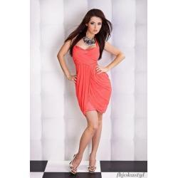 Urocza sukienka z szyfonem  KORALOWA S Wesele Sukienki mini
