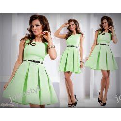 jokastyl* Rozkloszowana sukienka miętowa XL 42 Sukienki mini