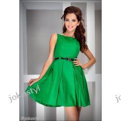 jokastyl ZIELONA rozkloszowana sukienka PASEK XL 42 Sukienki mini