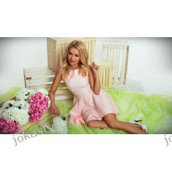jokastyl ŻAKARDOWA rozkloszowana różowa sukienka XS 34 Sukienki mini