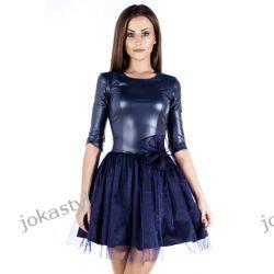 joka Sukienka rozkloszowana TIUL ekoskóra M granantowa Sukienki mini