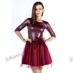 joka Sukienka rozkloszowana TIUL ekoskóra XS BORDOWA Sukienki mini