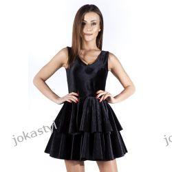 JOKASTYL Śliczna welurowa sukienka czarna XS 34 Odzież damska