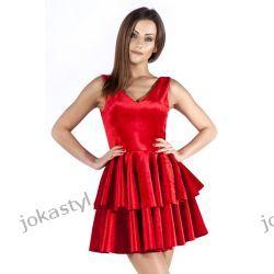 JOKASTYL Śliczna welurowa sukienka czerwona XS 34 Sukienki mini