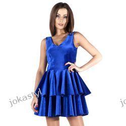 JOKASTYL Śliczna welurowa sukienka chabrowa XS 34 Odzież damska