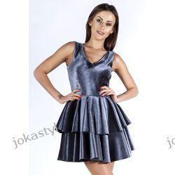 JOKASTYL Śliczna welurowa sukienka szara XS 34 Odzież damska