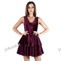 JOKASTYL Śliczna welurowa sukienka bordowa XS 34 Odzież damska