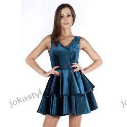 JOKASTYL Śliczna welurowa sukienka zielona XS 34 Odzież damska