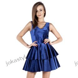 JOKASTYL Śliczna welurowa sukienka niebieska XS 34 Odzież damska