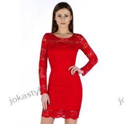 JOKASTYL Sukienka koronkowa 36 38 40 42 44 46 48 CZERWONA