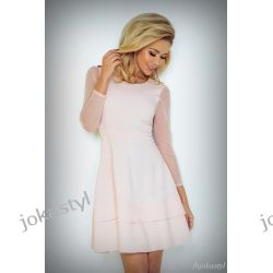 jokastyl Sukienka TIULOWE rękawy różowa XS M L XL XXL Sukienki mini