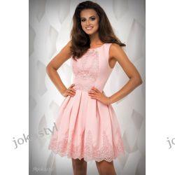 jokastyl Śliczna różowa sukienka z koronką S 36