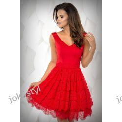 jokastyl Sukienka czerwona dół koronka XS S M L 34