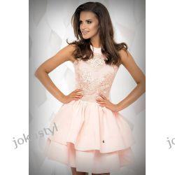 JOKASTYL sukienka falbany łososiowa gipiura S 36 Sukienki mini