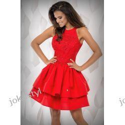 JOKASTYL sukienka falbany CZERWONA gipiura XS 34 Odzież, Obuwie, Dodatki
