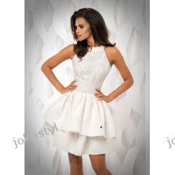 JOKASTYL sukienka falbany ECRU gipiura L 40 Odzież, Obuwie, Dodatki