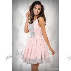 joka Śliczna różowa sukienka z koronką S 36 Sukienki mini