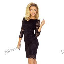 jokastyl Koronkowa sukienka CZARNA XL 42 mini rękaw 3/4-te Odzież damska